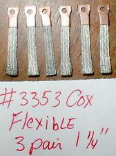 "3 pair Flexible pick-up brushes W/Hole Vintage 1960's COX (short) 1 1/4"" #3353"