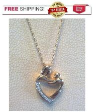 14k Yellow Gold over Sterling Silver Diamond Mom Baby Heart Necklace & Pendant