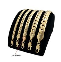 Mens Miami Cuban link Chain Necklace Bracelet 14K Gold Plated