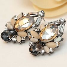 Fashion Chic Coffee Brown Diamante Crystal Statement Earrings Studs XMas Gift UK