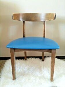 Vintage Mid Century Modern Blue Wood Accent Chair Retro 1960s