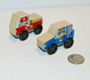 Kidkraft Wooden Trains Lot x2 Fire Truck Police Car Works w Thomas Railway, BRIO