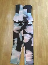 NANA JUDY BLACK/GREY/PINK STRAPLESS JUMPSUIT UK SIZE 8 WORN ONCE GOOD CONDITION