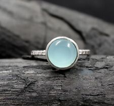 Solid 925 Sterling Silver Jewelry Round Chalcedony Valentine's Gift Ring KR1815
