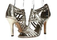 Womens Isola Pewter Leather Buckles Ankle Strap Formal Heels Sandals Size 10 M