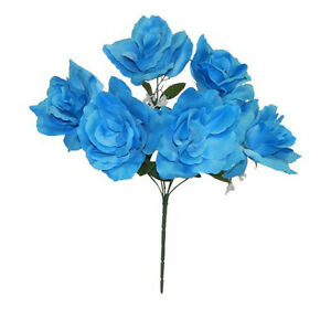 """6 Turquoise Blue 4"""" Open Roses Soft Artificial Silk Wedding Flowers Bouquet Fake"""