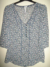 CREW CLOTHING NAVY FLORAL BLOUSE SIZE 8