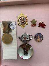 Vintage English England souvenirs medal tea roab king George queen Elizabeth nr