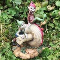 Pixie Brothers Mushroom Fairy Garden Decoration Lawn Ornament Elf Figure Gift