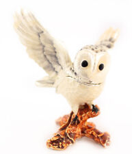 White Owl Bird Cute Jewelry Trinket Box Collectible Enamel Bird Decoration 02014