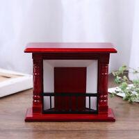 1/12 Dollhouse Miniature Vintage Red Wooden Fireplace Model Dollhouse Furni_3C