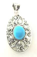 Royal Bali Collection Arizona Sleeping Beauty Turquoise (Ovl) Pendant w/o Chain