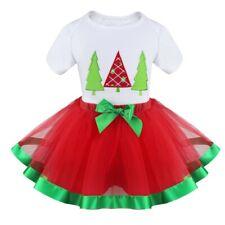 Girls Christmas Tutu Leotard Dress+Hat Dance Outfit Short Puff Sleeves Costume