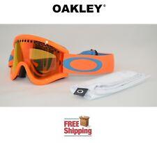 OAKLEY® E FRAME® SNOW GOGGLES DUAL LENS SNOWBOARD SKI NEON ORANGE W/ FIRE MIRROR