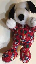"""9"""" APPLAUSE SNOOPY CHRISTMAS PAJAMAS BEAN BAG STUFFED ANIMAL PLUSH TOY Red PJ's"""