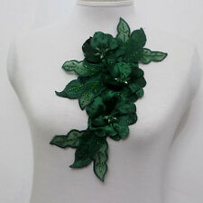 New listing 1Piece Leaves 3D Flowers Chiffon Ab Crystal Beaded Lace Applique Blackish Green