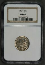1937 5c INDIAN HEAD BUFFALO NICKEL, NICE UNC COIN *LUSTER! *NGC MS 66* LOT#Q033