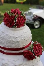 wedding, anniversary, birthday red cake topper/ set of 3 toppers and 2 ribbons