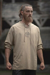 Medieval Men Linen Embroidery Shirt Tunic Ancient Viking Top Cosplay Costume