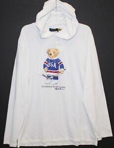 Polo Ralph Lauren Mens White Polo USA Bear Hoodie L/S T-Shirt NWT Size L