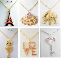 A-34 wholesale Jewelry lot 10 Pcs Pendant rhinestone crystal necklace
