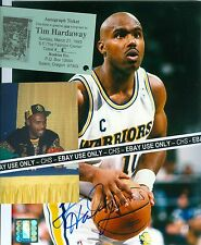 TIM HARDAWAY NICE SIGNED COLOR 8x10 + SIGNING PROOF PHOTO GOLDEN STATE WARRIORS