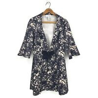 Joseph Ribkoff Floral Coat Womens Size 8 Black Tan 3/4 Sleeves Bow Jacket