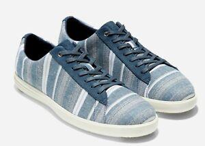 Cole Haan Grand Crosscourt Blue Striped Fabric Fashion Sneakers 9.5M NIB $150.00