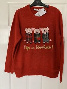 Women's Next Red Pigs In Blankets Christmas Jumper Size 16 New