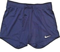 "Nike Dri-Fit Women Navy Blue Training Short Fold Over 5"" Elastic Waistband Sz M"