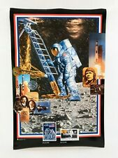 Vintage Usps Post Office 1989 First Man on Moon Stamp Poster 36x24 Nasa Space