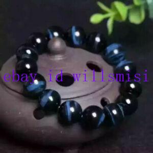 Rare Huge 14mm Natural Blue Tiger's Eye Round Gemstone Beads Bracelet 7.5'' AAA+