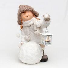 XL ceramica 47 cm invernale bambino Ragazza Bambola con Lanterna Finestra