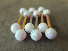 Gold IP Full Set of 2 White Lab Opal Barbell Nipple Piercings