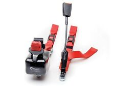 pair red rear combined unwin webbing restraint seatbelt stalk tongue and buckle