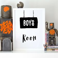 Boys Room Scandi Black Sign Kids Nursery Play Room Wall Art Print Poster Picture