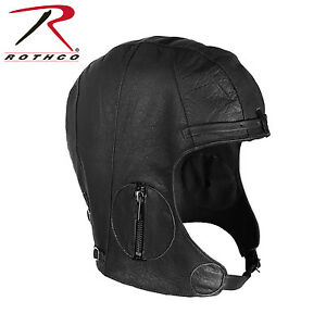 Rothco 3572 WWII Style Leather Pilots Helmet - Black