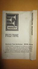 Vintage Circa 1960's Maestro Fuzztone FZ-1B Original Owner's Manual Instructions