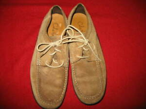 COLE HAAN, MEN'S LACE-UP OXFORDS, SIZE: 9.5, COLOR: TAN OILED WAXED SUEDE, USED,