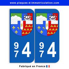 Stickers pour plaque département 974 La Réunion (jeu de 2 stickers) blason