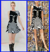 Resort/12 Look # 8 VERSACE FLORAL BLACK and WHITE SUIT w/LEATHER CORSET 38 - 2