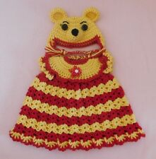 """American Girl Doll Crochet Red Winnie the Pooh Dress Hat Fit American Girl 18"""""""