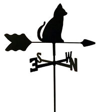 SITTING CAT GARDEN STYLE WEATHERVANE BLACK WROUGHT IRON LOOK MADE IN USA TLS1007