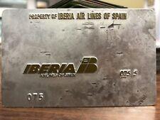 Rare Vintage lberia Airlines Validation Plate