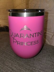 Personalized Polar Camel Stemless Wine Tumbler with Clear Lid, Pink, 12 oz.
