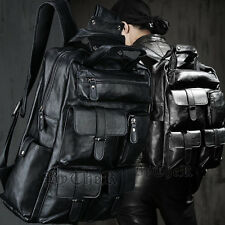 ByTheR Fashion Black Faux Leather Pocket Monster Eco Soft Large Backpack UK