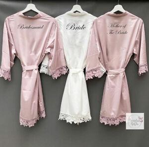 Personalised Lace Trim Bride Wedding Kimono Satin V-Neck Robe Bridesmaid Gown