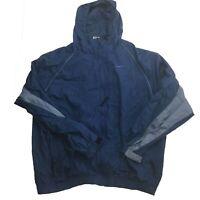 VTG Nike Blue Windbreaker Nylon  Hooded Jacket Men's Size Large Measured