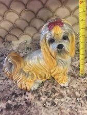 "Large Vintage Italian Majolica Pottery Shih Tzu Dog/Puppy Marked ""Italy"""