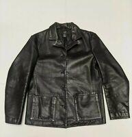 Gap Genuine Leather Black Button Up Jackets Women's Medium